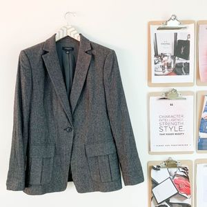Ann Taylor Wool Blend Blazer One Button 10 Brown